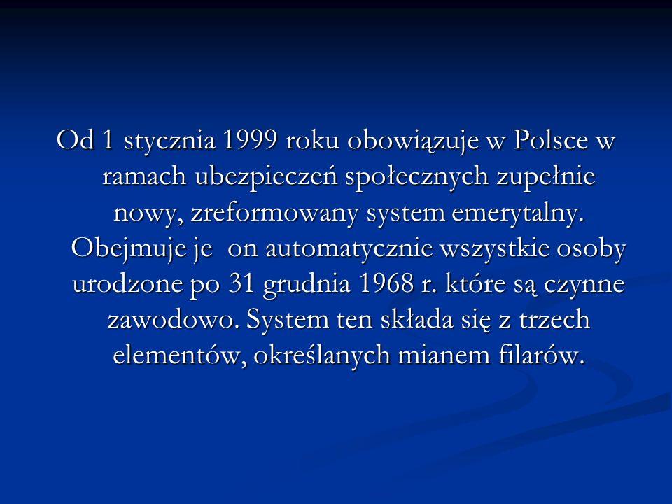 Od 1 stycznia 1999 roku obowiązuje w Polsce w ramach ubezpieczeń społecznych zupełnie nowy, zreformowany system emerytalny.