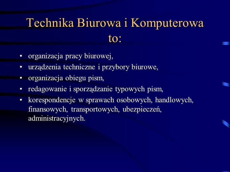 Technika Biurowa i Komputerowa to: