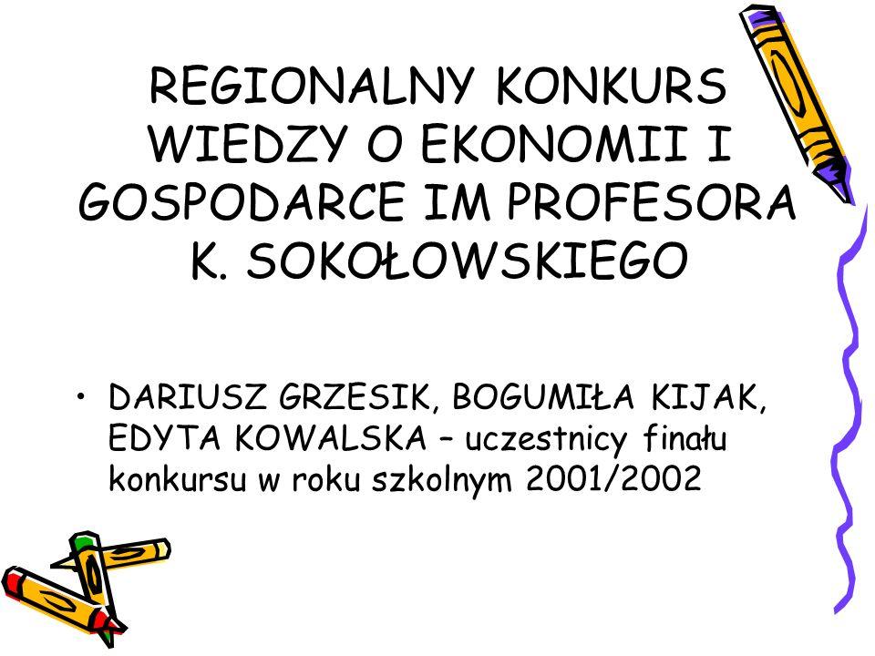 REGIONALNY KONKURS WIEDZY O EKONOMII I GOSPODARCE IM PROFESORA K
