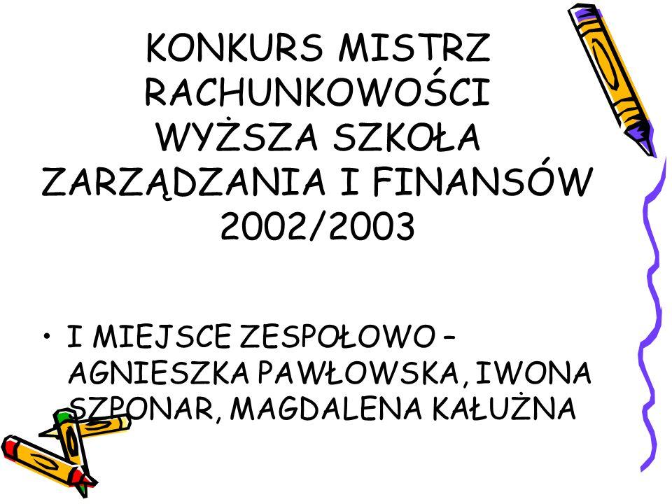 KONKURS MISTRZ RACHUNKOWOŚCI WYŻSZA SZKOŁA ZARZĄDZANIA I FINANSÓW 2002/2003