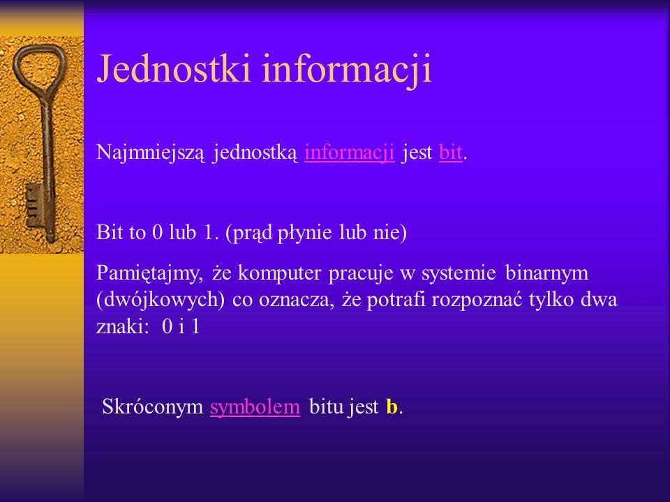 Jednostki informacji Najmniejszą jednostką informacji jest bit.