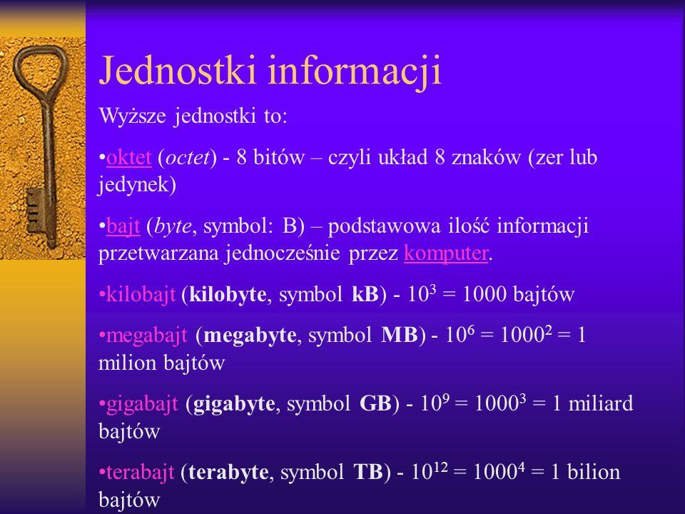 Jednostki informacji Wyższe jednostki to: