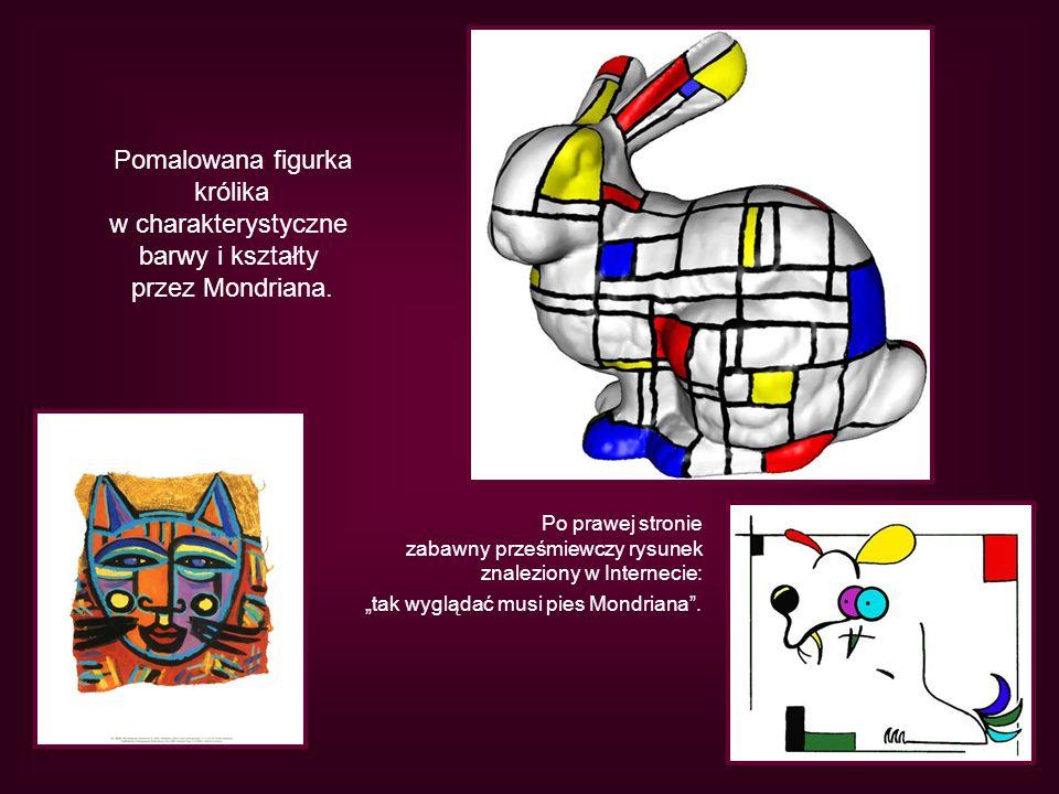 Pomalowana figurka królika w charakterystyczne barwy i kształty