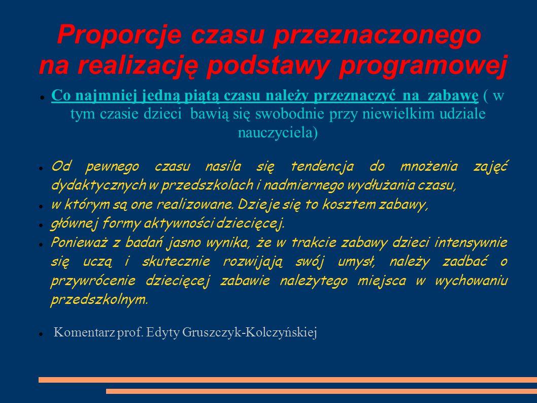 Proporcje czasu przeznaczonego na realizację podstawy programowej