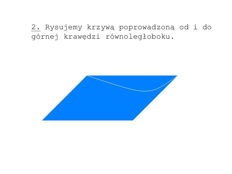 2. Rysujemy krzywą poprowadzoną od i do górnej krawędzi równoległoboku.