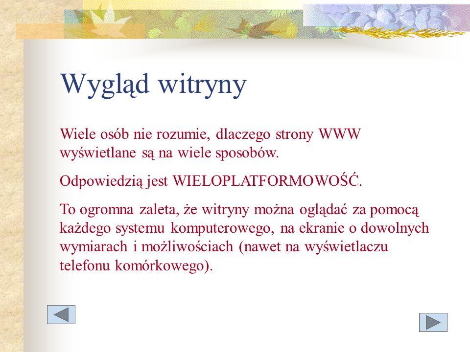 Wygląd witryny Wiele osób nie rozumie, dlaczego strony WWW wyświetlane są na wiele sposobów. Odpowiedzią jest WIELOPLATFORMOWOŚĆ.