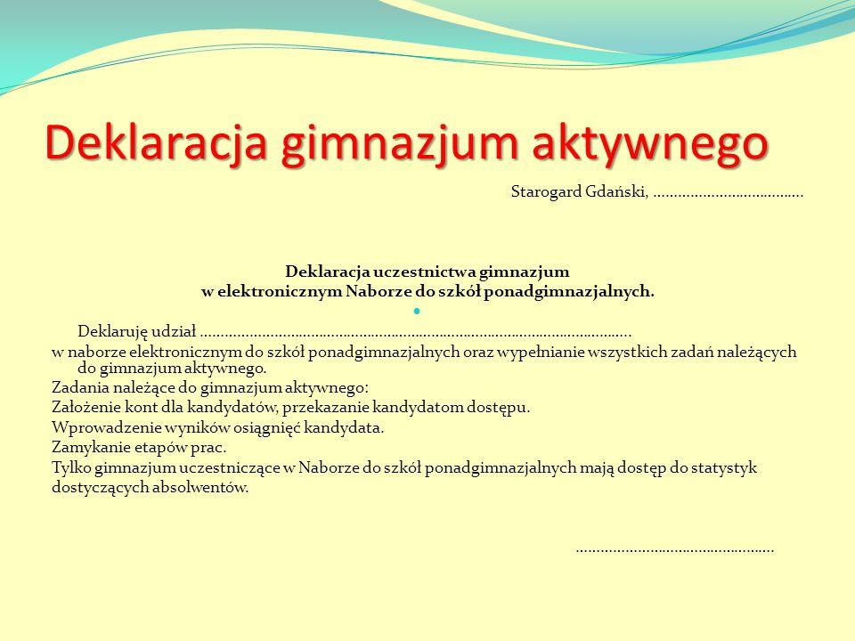 Deklaracja gimnazjum aktywnego