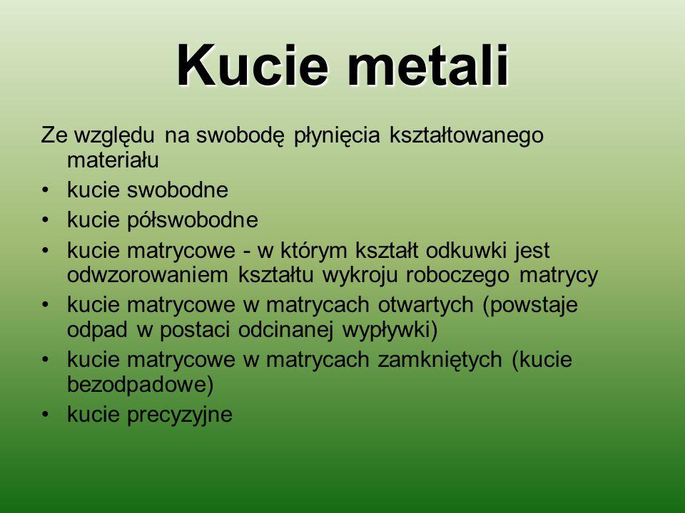 Kucie metali Ze względu na swobodę płynięcia kształtowanego materiału