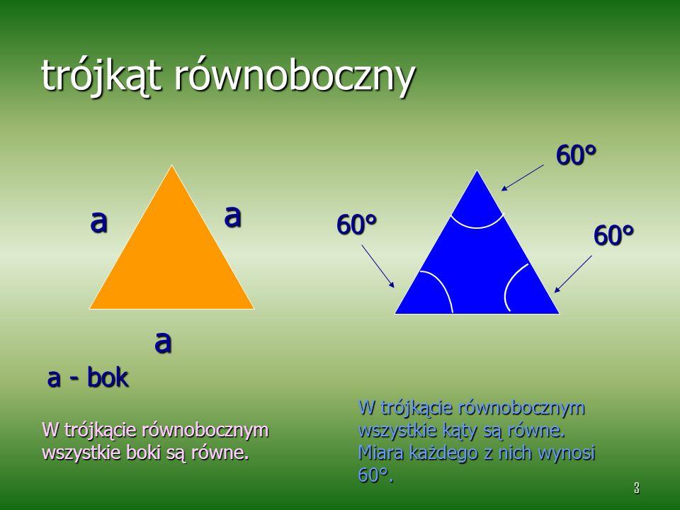 trójkąt równoboczny a a a 60° 60° 60° a - bok