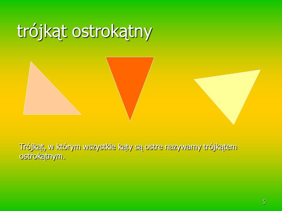trójkąt ostrokątny Trójkąt, w którym wszystkie kąty są ostre nazywamy trójkątem ostrokątnym.