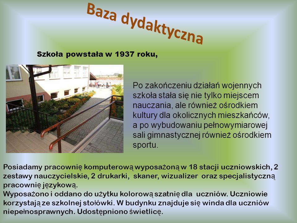 Baza dydaktyczna Szkoła powstała w 1937 roku,