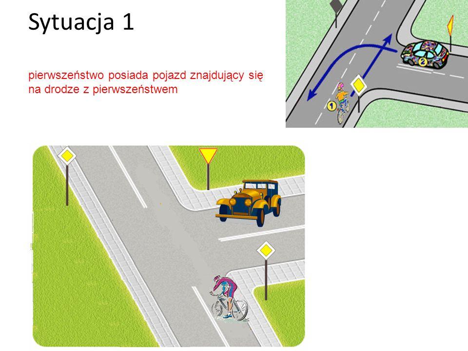 Sytuacja 1 pierwszeństwo posiada pojazd znajdujący się na drodze z pierwszeństwem
