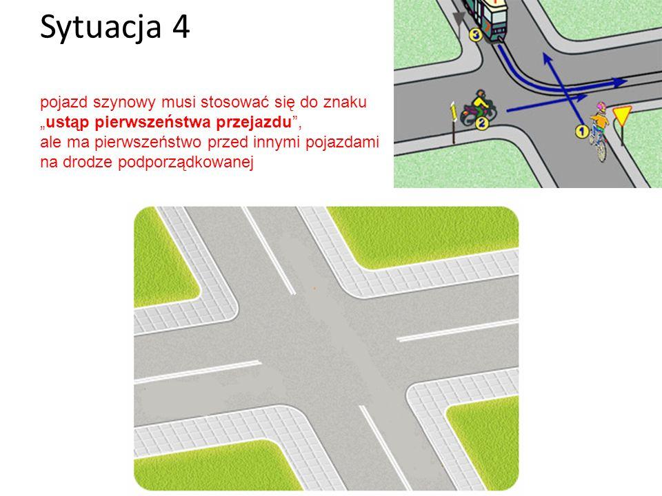 """Sytuacja 4 pojazd szynowy musi stosować się do znaku """"ustąp pierwszeństwa przejazdu , ale ma pierwszeństwo przed innymi pojazdami na drodze podporządkowanej"""