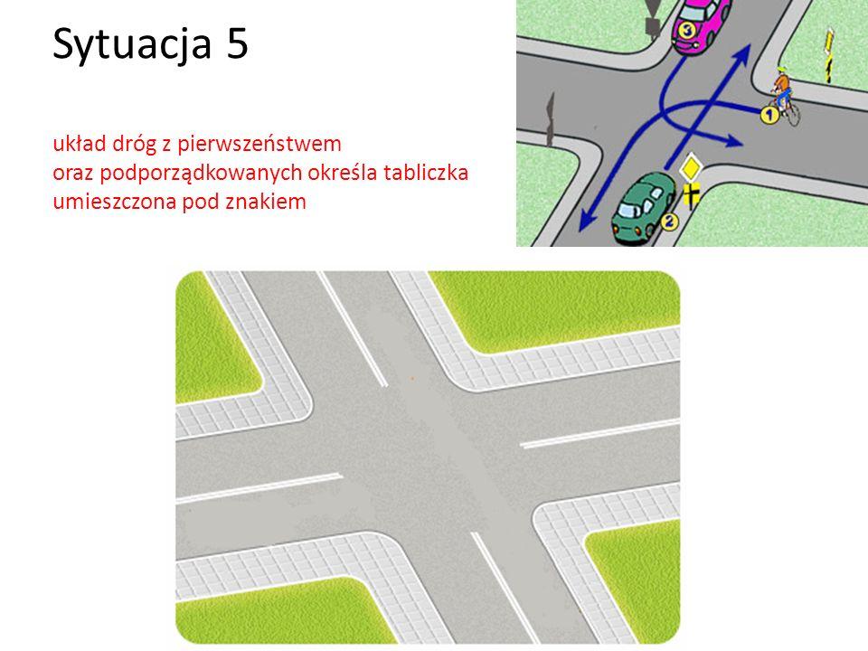 Sytuacja 5 układ dróg z pierwszeństwem oraz podporządkowanych określa tabliczka umieszczona pod znakiem