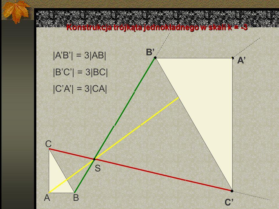 Konstrukcja trójkąta jednokładnego w skali k = -3
