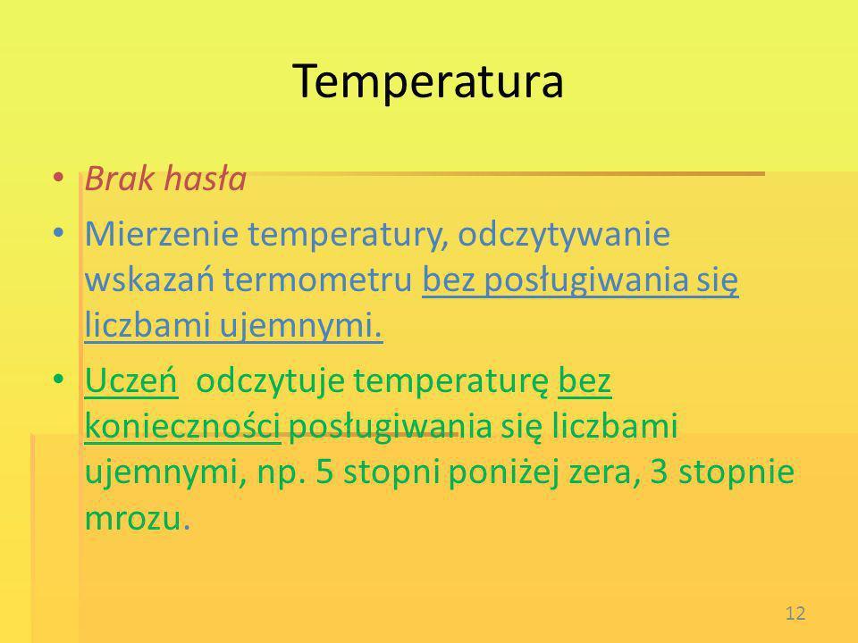 Temperatura Brak hasła