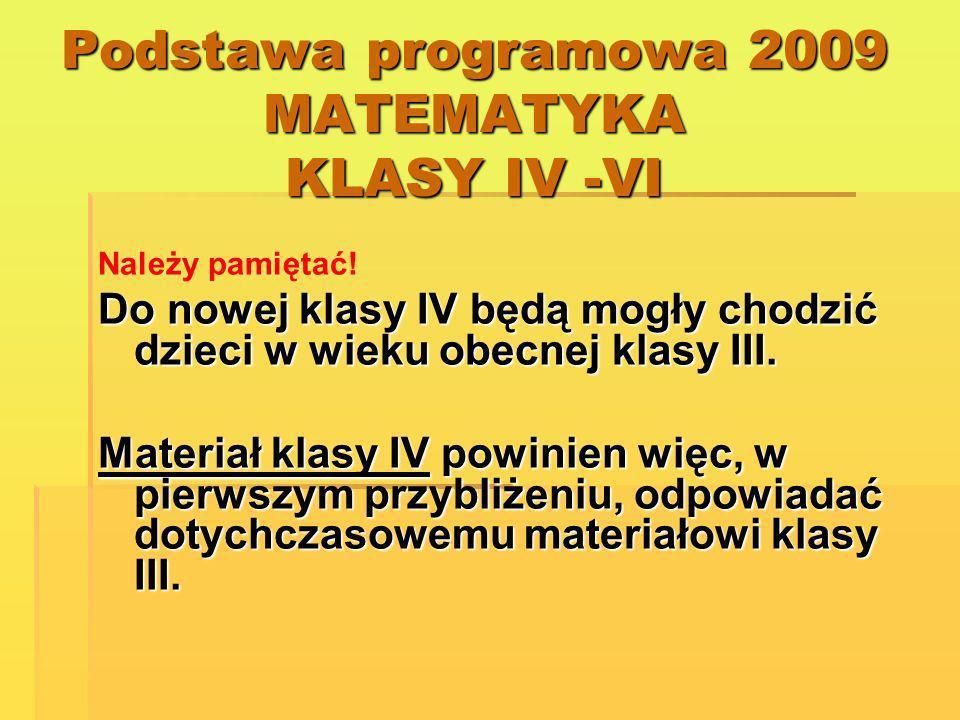 Podstawa programowa 2009 MATEMATYKA KLASY IV -VI