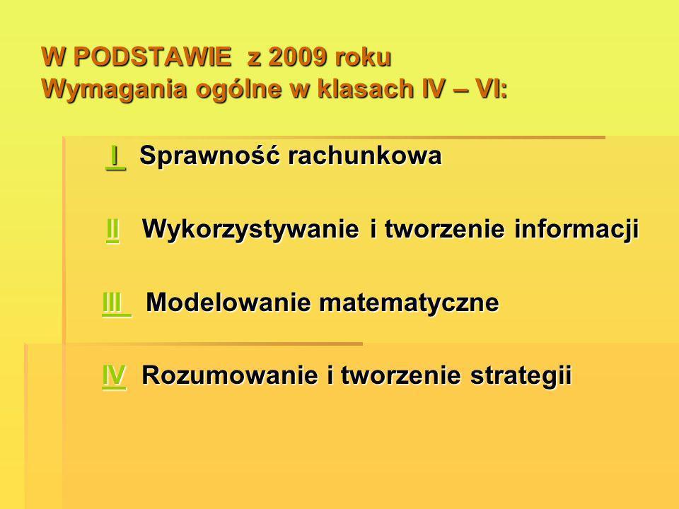 W PODSTAWIE z 2009 roku Wymagania ogólne w klasach IV – VI: