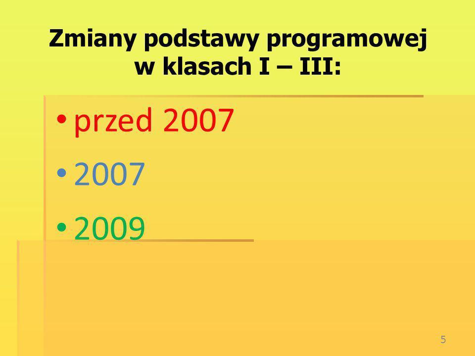 Zmiany podstawy programowej w klasach I – III: