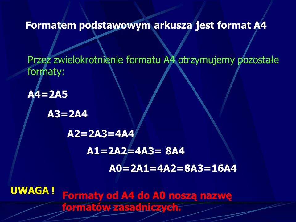 Formatem podstawowym arkusza jest format A4