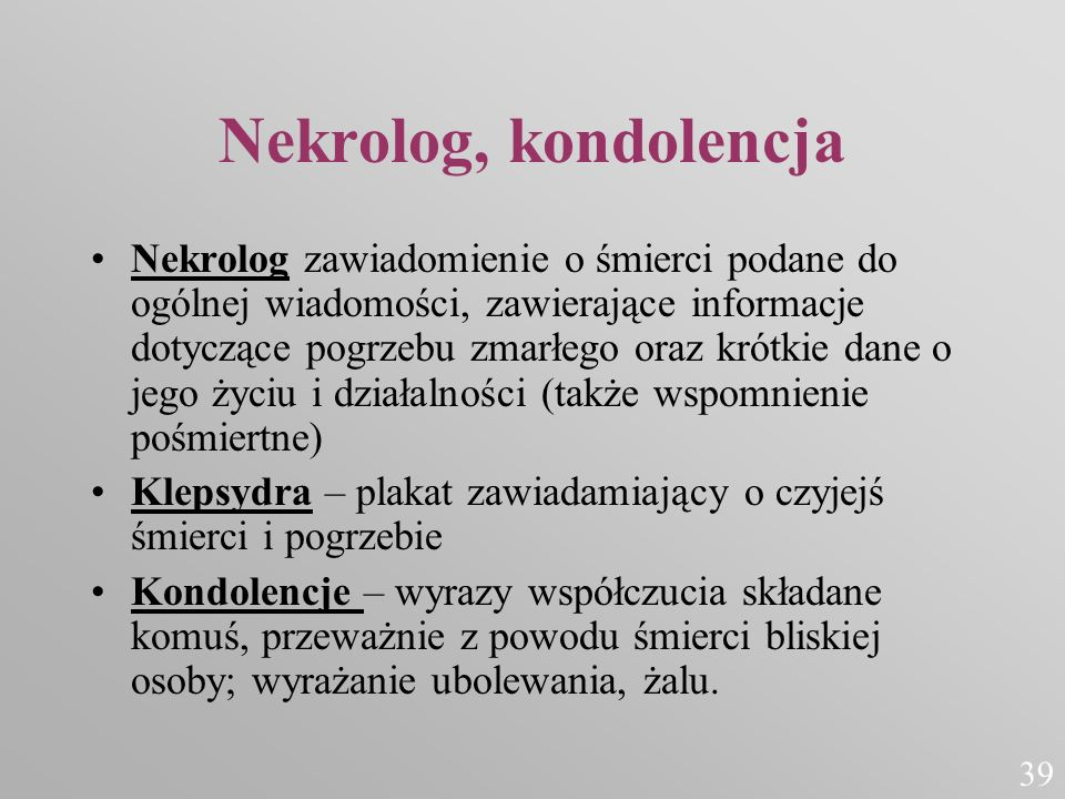 Nekrolog, kondolencja