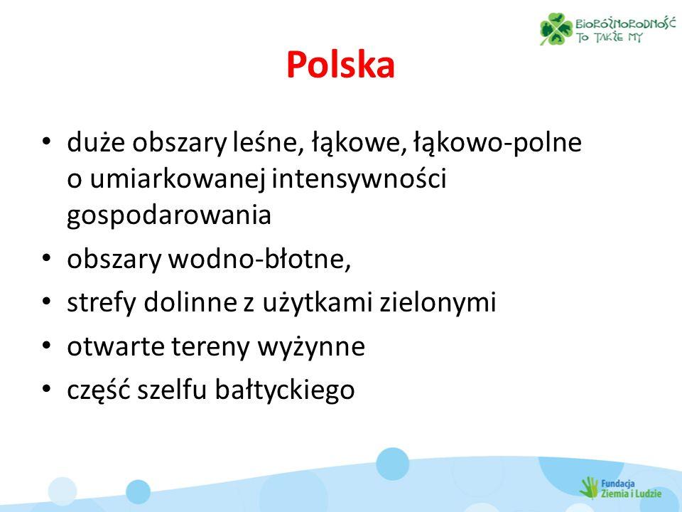 Polska duże obszary leśne, łąkowe, łąkowo-polne o umiarkowanej intensywności gospodarowania. obszary wodno-błotne,