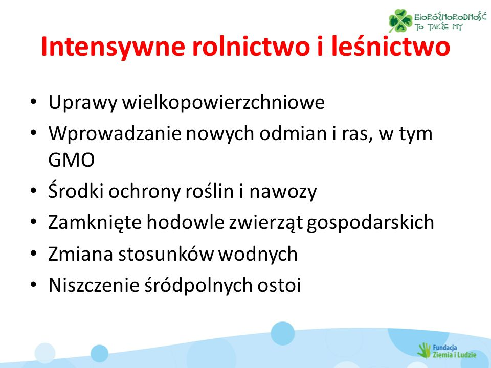 Intensywne rolnictwo i leśnictwo