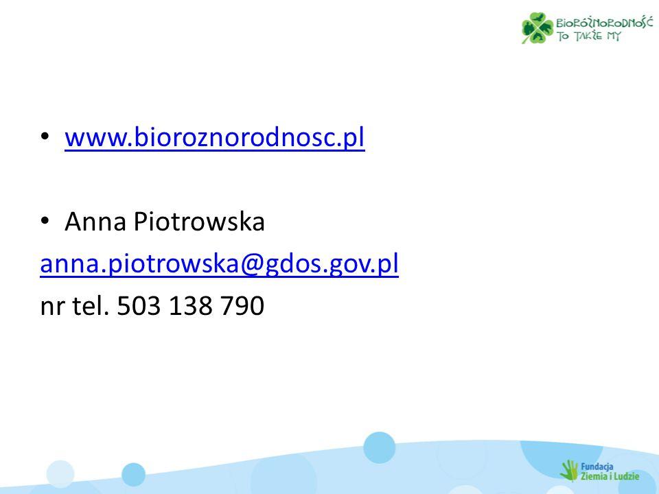 www.bioroznorodnosc.pl Anna Piotrowska anna.piotrowska@gdos.gov.pl nr tel. 503 138 790