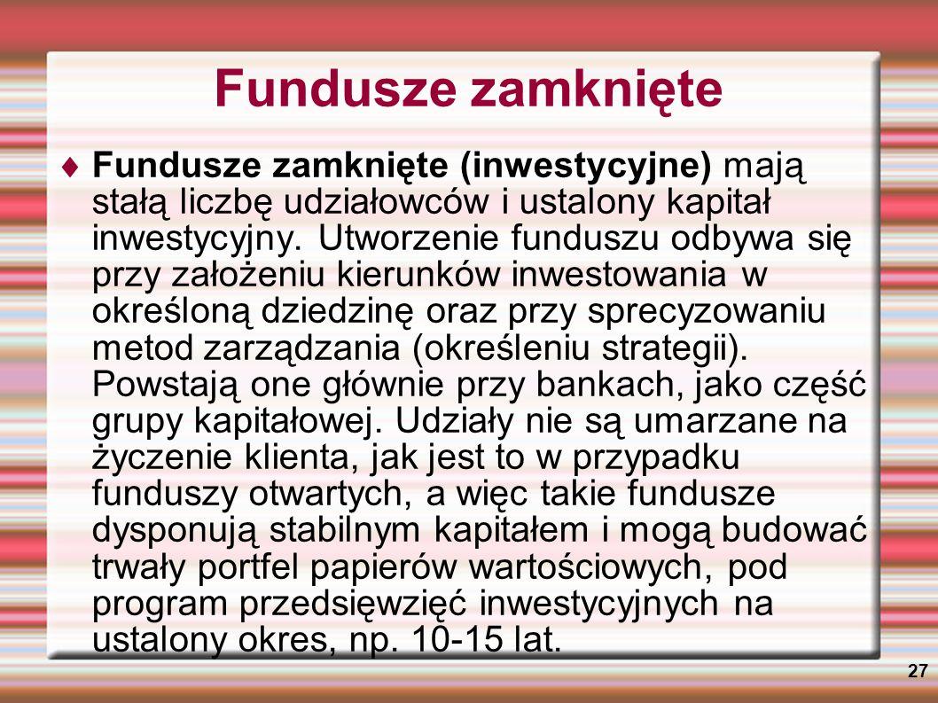 Fundusze zamknięte
