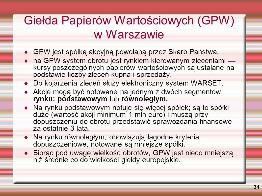 Giełda Papierów Wartościowych (GPW) w Warszawie