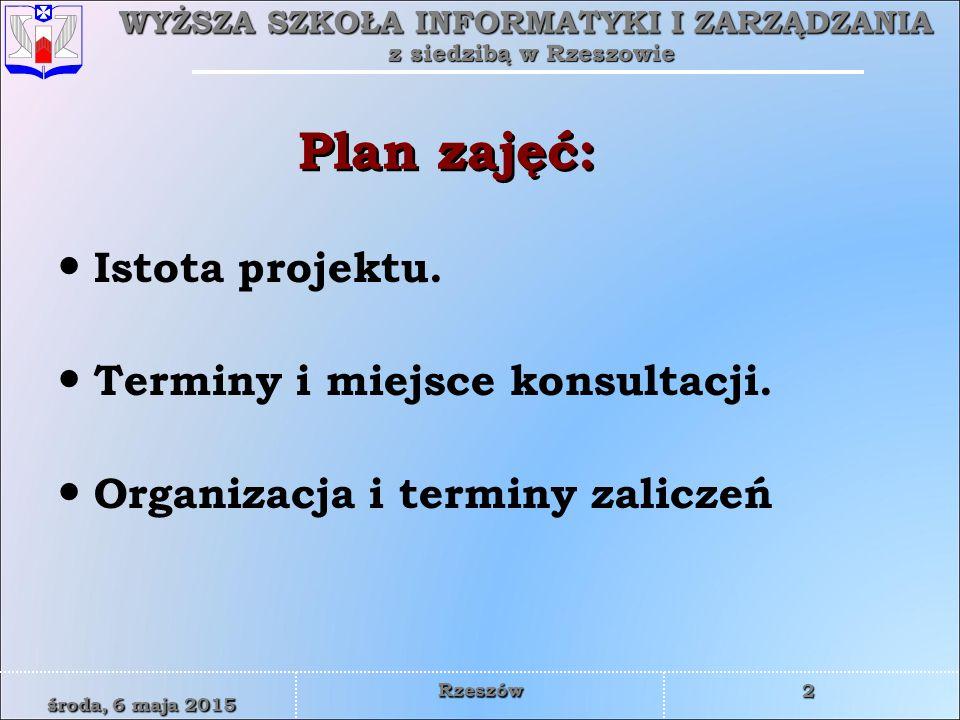 Plan zajęć: Istota projektu. Terminy i miejsce konsultacji.