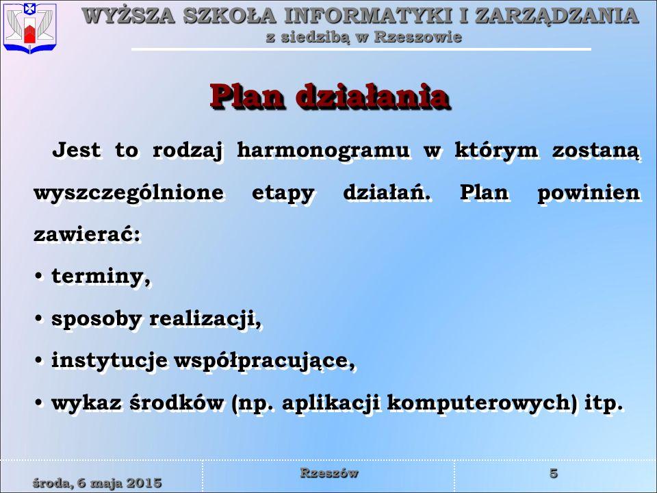 Plan działania Jest to rodzaj harmonogramu w którym zostaną wyszczególnione etapy działań. Plan powinien zawierać: