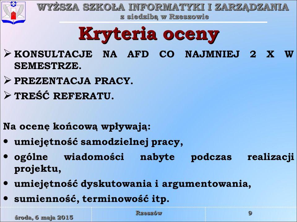 Kryteria oceny KONSULTACJE NA AFD CO NAJMNIEJ 2 X W SEMESTRZE.