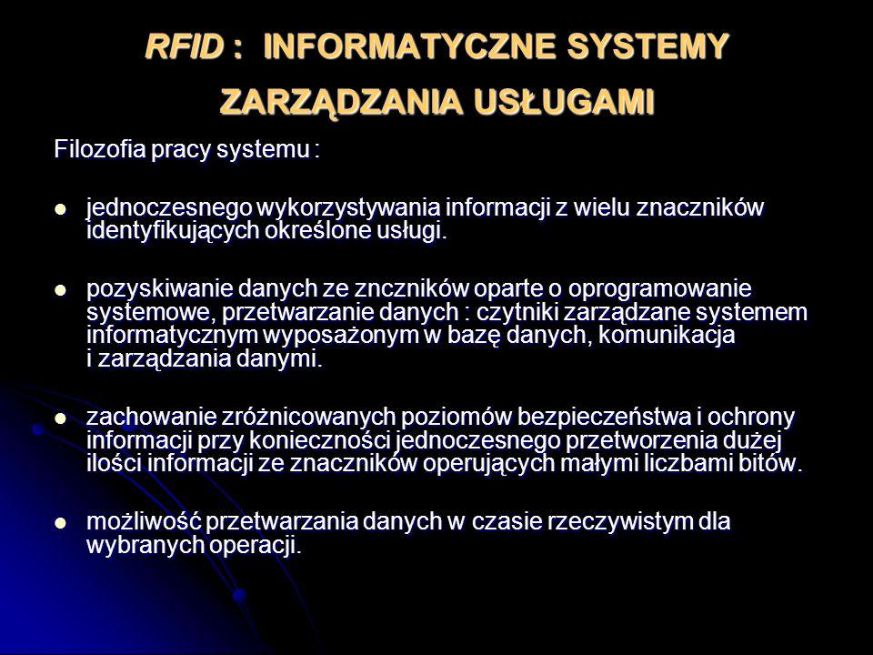 RFID : INFORMATYCZNE SYSTEMY ZARZĄDZANIA USŁUGAMI