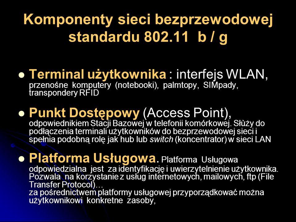 Komponenty sieci bezprzewodowej standardu 802.11 b / g