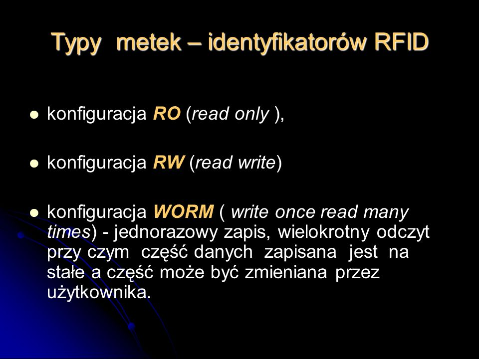 Typy metek – identyfikatorów RFID