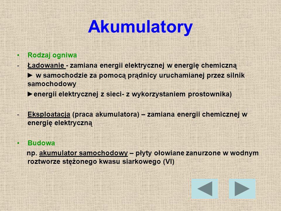 Akumulatory Rodzaj ogniwa