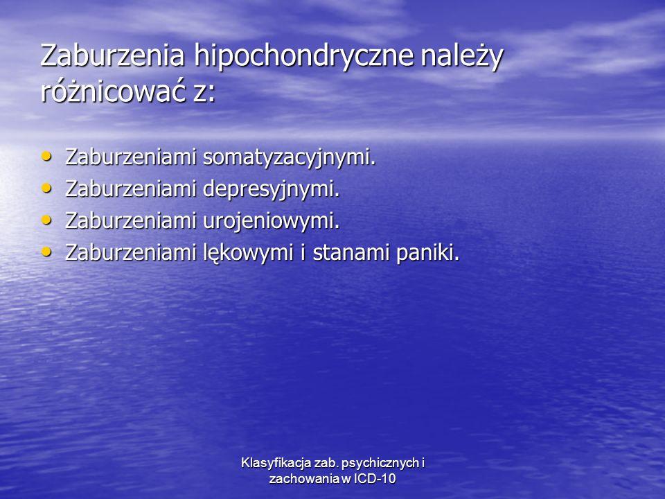 Zaburzenia hipochondryczne należy różnicować z: