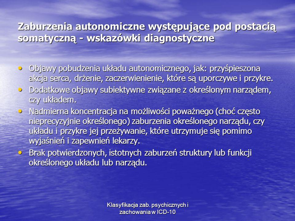 Klasyfikacja zab. psychicznych i zachowania w ICD-10