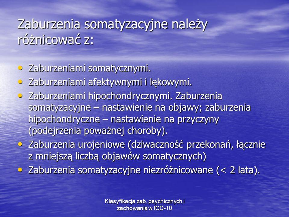 Zaburzenia somatyzacyjne należy różnicować z: