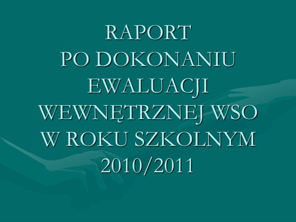 RAPORT PO DOKONANIU EWALUACJI WEWNĘTRZNEJ WSO W ROKU SZKOLNYM 2010/2011