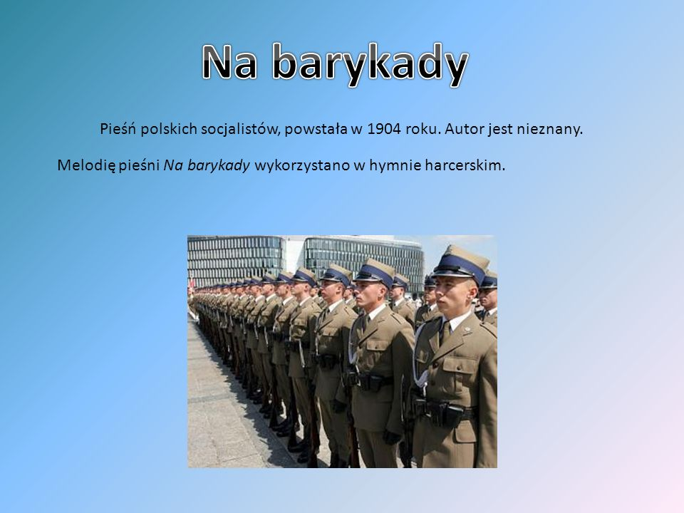 Na barykady Pieśń polskich socjalistów, powstała w 1904 roku.