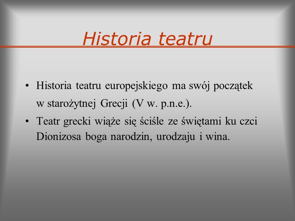 Historia teatru Historia teatru europejskiego ma swój początek