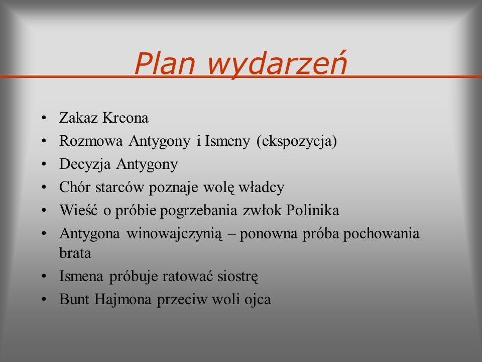 Plan wydarzeń Zakaz Kreona Rozmowa Antygony i Ismeny (ekspozycja)