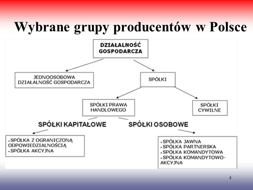 Wybrane grupy producentów w Polsce