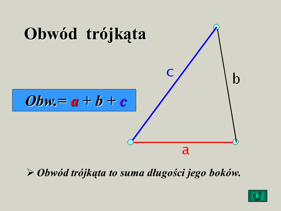 Obwód trójkąta Obw.= a + b + c