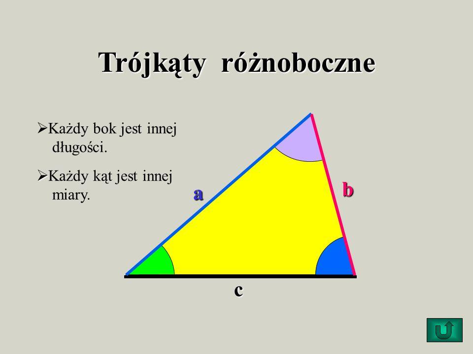 Trójkąty różnoboczne b a c Każdy bok jest innej długości.