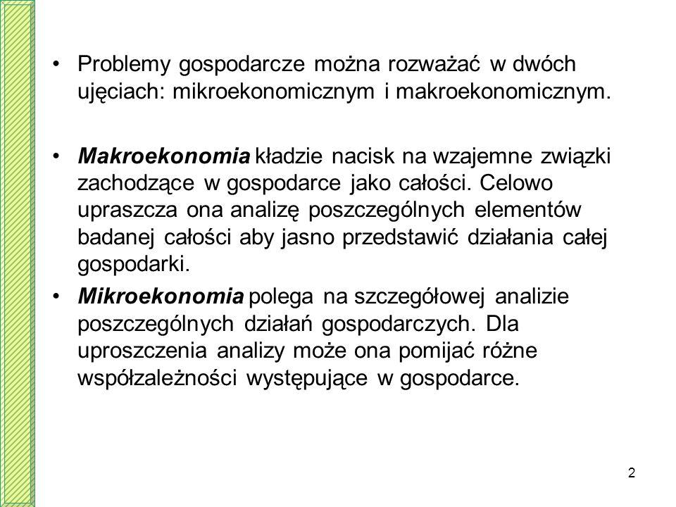 Problemy gospodarcze można rozważać w dwóch ujęciach: mikroekonomicznym i makroekonomicznym.