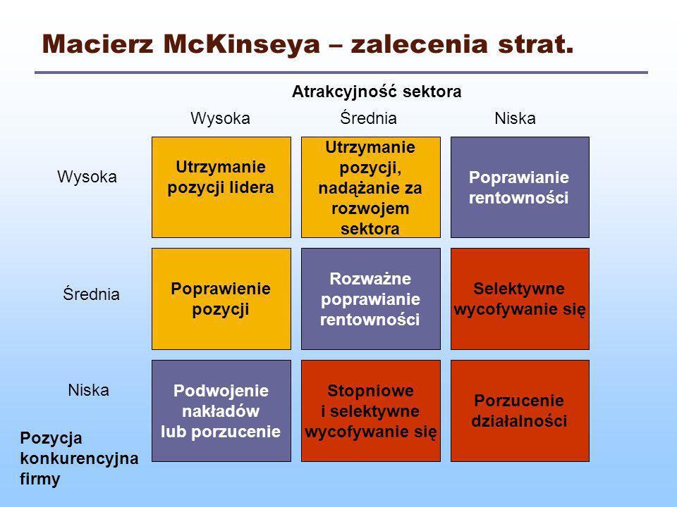 Macierz McKinseya – zalecenia strat.