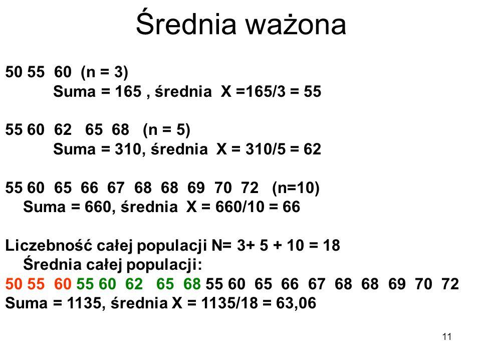 Średnia ważona 50 55 60 (n = 3) Suma = 165 , średnia X =165/3 = 55